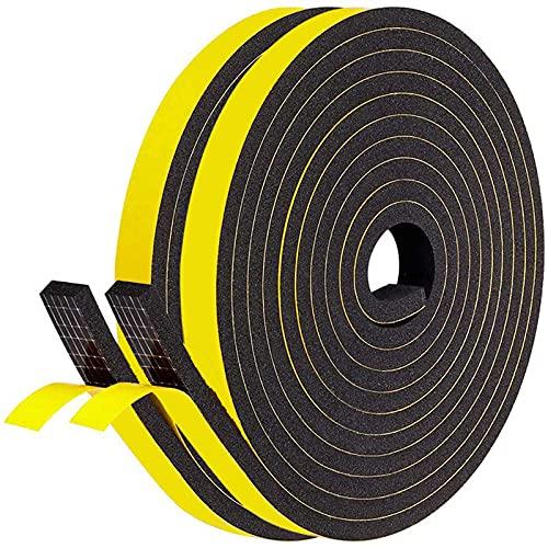 隙間テープ LOORIPRO すきまテープ 2本セット 12mm幅×6mm厚×4M長さ 高密度スポンジ クッションテープ パッキンテープ 防音テープ 防水 戸当たり ドア 窓用エアコン用 隙間対策