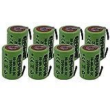 8 X Batteria ricaricabile NiMh 4/5 SC 1,2V 2000mAh 22x33mm subC a saldare linguette per pa...