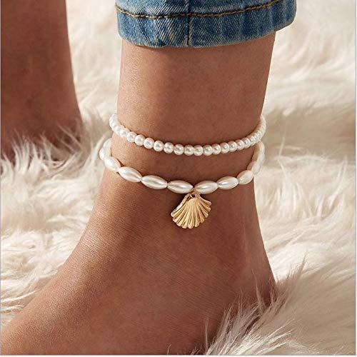 Nicute gelaagde parel kralen Anklet Beach gouden schelp hanger voet ketting voet sieraden voor vrouwen en meisjes