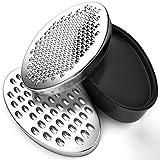 BINSENI Rallador de queso, sin BPA, con recipiente de almacenamiento de alimentos y tapa, apto para quesos, verduras y chocolate (negro)