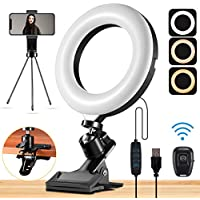 Mastten 6 Inch Mini Ring Light with Clip Clamp Mount