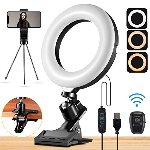 """Mastten Ring Light for Laptop Phone, 6"""" Mini Ring Light with Clip Clamp Mount, Video Conference Lighting with Bluetooth Remote/Phone Holder/Tripod, for Zoom Meetings, Makeup, YouTube, TIK Tok, Vlogs"""