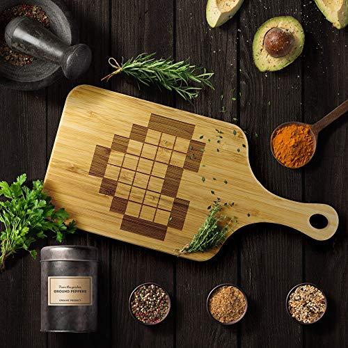 Legend of Zelda 8-Bit Pixel Heart Bamboo Cutting Board for Nintendo RPG Gamers (Large - 15'x7')