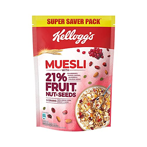 Kellogg's Muesli with 21% Fruit, Nut & Seeds |Tastier now with Cranberries and Pumpkin Seeds |Breakfast Cereal | High in Iron|...