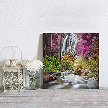 Canvas Wall Art Print Framed Wall Decoration Beautiful Bangkok Waterfall Colorful Tropical Rainforest Scenery Canvas Art Painting for Bathroom Stretched & Framed Artwork Bedroom Home Decor