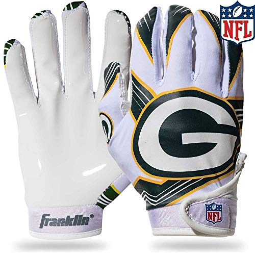 Franklin Sports Green Bay Packers Youth NFL Football Receiver Gloves - Receiver Gloves For Kids - NFL Team Logos and Silicone Palm - Youth M/L Pair