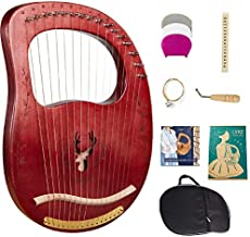 Lyre Harp, 16 Strings Mahogany Solid Wood Metal String Adult/Child Musical Instrument, With Tuning Wrench Pick, Black Gig Bag, and Music Tutorial for Beginner Instrument Lovers (coffee color)