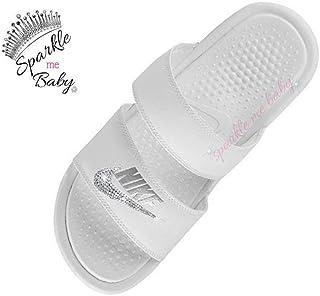 317ba8e8f5ff3b Nike Benassi Duo Women s in White - Blinged - Swarovski Bedazzled Nike Duo Slides  Customized for