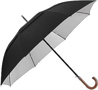 54/62 Inch Protección UV Paraguas Clásico Abierto Automático Paraguas Doble Paraguas de Palo Grande con Mango de Madera Crook