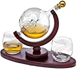 GXYtable cloth Whisky 850ml Set de Decanter, Decantador de Globo de Vodka Premium con 2 Gafas Dispensador de Licor con Soporte de Madera para el Licor Scotch Bourbon
