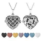 JOVIVI 2pcs Essential Oil Lava Rock Diffuser Necklace Silver Plated Love Heart Aromatherapy Locket...
