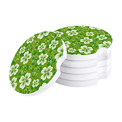 Green Lucky Clover Leaf Car Coasters for Drink, Set of 6 Pack Absorbent Stone Coaster Cup Holder, Perfect for Women Men Car Accessories Celtic Festivals St. Patrick