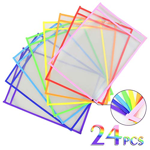 Dry Erase Pockets Oversize 10x14 Pockets Reusable Dry Erase Board Sleeves Assorted Colors Worksheet Sleeves Perfect for Classroom Organization Ideal for Office and School Work,24 Pack