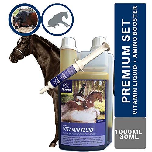 EMMA® Vitamine + Aminosäuren Booster I Zink Selen I Vitamin A D E B-komplex B1 B2 B6 B12 Folsäure I Vitamin A-Z Mineralien I Immunsystem I hochdosiert Fohlen Stuten altes Pferd 1L + 30ml
