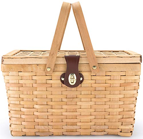 Picnic Basket   Wood Chip Design   Red and White Gingham Pattern Lining   Strong Wooden Folding Handles   Features a Leather Strap Metal Lock for Safety   Natural Eco Friendly Woven Woodchip Basket