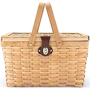 Picnic Basket | Wood Chip Design | Red and White Gingham Pattern Lining...
