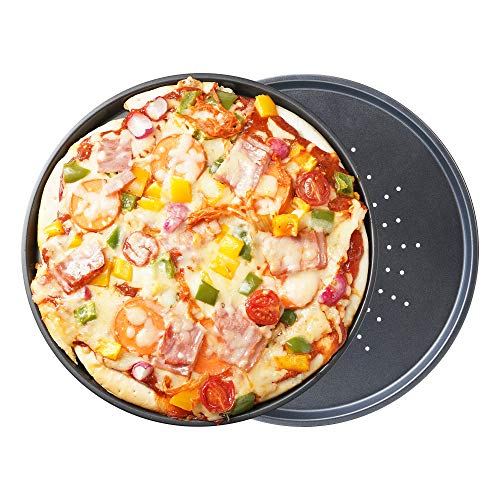 OJelay Perforated Pizza Crisper Pan 115 Inch 2 Pack Nonstick Round Pizza Baking Sheet Pizza Pan with Holes