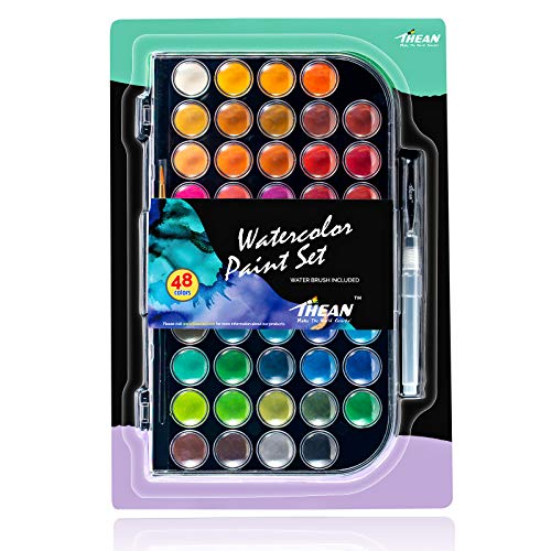 THEAN Watercolor Paint Set - Complete Kit of Coloring Art Supplies for Artists, Kids & Adults - 48 Safe & Vibrant Colors - Includes Removable Mixing Tray, Painting Brush & Refillable Water Brush Pen