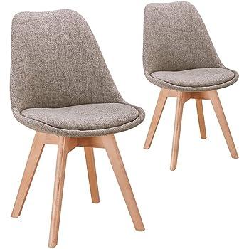 UsineStreet Lot de 2 chaises scandinaves PRYA en Tissu avec Coussin et Pieds en Hêtre Couleur Gris foncé
