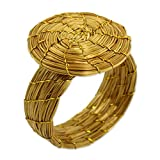 NOVICA Handcrafted Golden Grass Fair Trade Cocktail Ring, Sublime Nature'