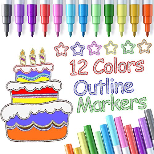 Outline Pen Ohuhu, 12 Colors Metallic Outline Markers for Card Making, Coloring Books, Calligraphy, Art Rock Painting and DIY Craft, Glitter Paint Pens
