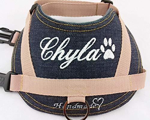 Hundegeschirr S M L XL XXL Brustgeschirr mit Wunsch Namen bestickt Jeans