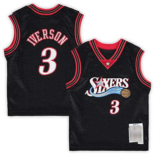 DDDE Custom Basketball Jersey T-shirt Allen 76ers # 3 Philadelphia Iverson Infant Retired Player Jersey Quick Drying Felpa Per Gioventù - Nero