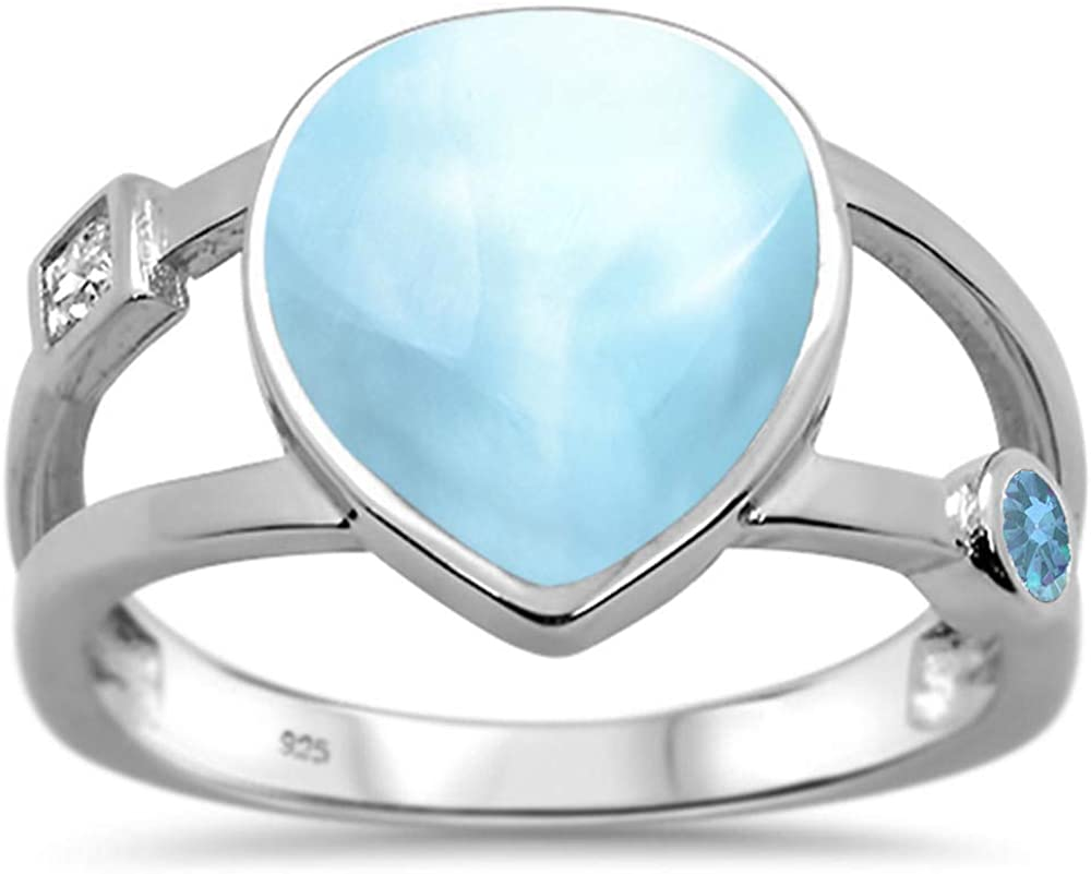 Oxford Diamond Co Sterling Silver New Manufacturer OFFicial shop product type A Shape Natural Larimar Pear