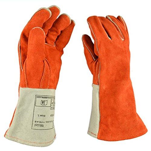 ETbotu 1 paar lassen dikke zware handschoenen hoge warmte bewijs stevige grote open haard handschoenen handbescherming brandwerende handschoenen voor lassen
