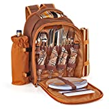 Flexzion Picnic Backpack Kit - Set for 4 Person with Cooler Compartment, Detachable