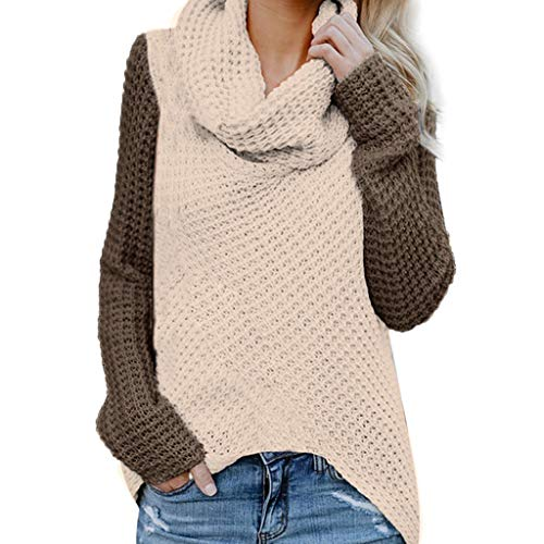 TAMALLU Sweater Damen Modische Warm Lässige Patchwork Winter Langarm Mantel(Kaffee,2XL)