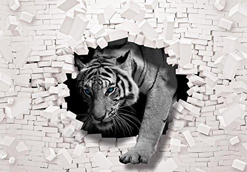 DekoShop Fototapete Vlies Tapete Moderne Wanddeko Wandtapete 3D Tiger kommt aus der Wand AMD10400VEXXL VEXXL (312cm. x 219cm.) 3D und Geometrie, Tiere/Fauna
