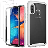 MERRO for Samsung A20 Case,Galaxy A30 Case with Glass Screen Protector,Pass 16ft. Drop Tested Heavy Duty Cover with Strong TPU Bumper,Protective Phone Case for Samsung Galaxy A20/A30 White