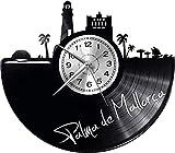 Reloj de Pared de Palma de Mallorca, Reloj Retro con Disco de Vinilo, Reloj Grande, Estilo de habitación, Decoraciones para el hogar, Reloj