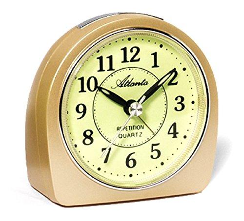 Atlanta 1586-9 Wecker Analog Licht Alarm gelb Gold