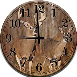 Large Wood Wall Clock Deer Buck & Doe with Big Antlers Hunting Wildlife Woods Wood Wall Art Home Décor