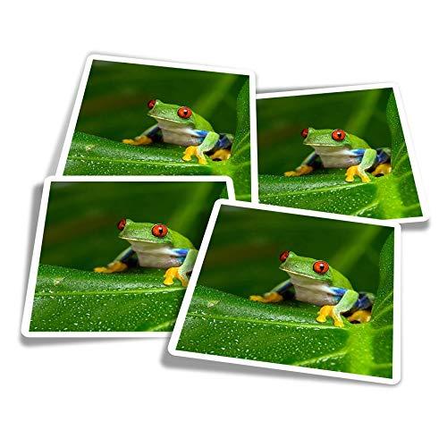 Pegatinas de vinilo (juego de 4) 10 cm – Red Eyed Amazon Tree Frog divertidos adhesivos para ordenadores portátiles, tabletas, equipaje, reserva de chatarra, frigoríficos #46240