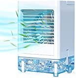 Portable Air Conditioner, Rechargeable Evaporative Air Cooler, 800 ML Water Tank, 5000mAh Battery Operated with Cooling and 3 Speeds Function, Personal Air Cooler for Home Office and Room