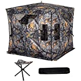 Tangkula 78'' Hunting Blind Outdoor Hunting Tent with Stool Set Pop Up Portable Includes Backpack Removable Camo Mesh Waterproof Hunting Blind Tent(3 Person)