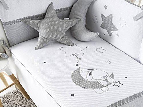 Pirulos Luna Bonito Conjunto Edredón + Protector/Chichonera + Cojín para Maxi Cuna Bebé de 70x140 cm, Color Blanco y Gris