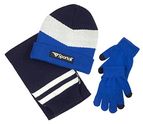 Sportoli Boys' Kids Knit Cold Weather Accessory Set Warm Hat, Scarf and Gloves (Blue Chevron),Boys One Size / 8-20