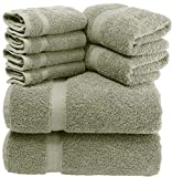 White Classic Luxury Green Bath Towel Set - Combed Cotton Hotel Quality Absorbent 8 Piece Towels | 2 Bath Towels | 2 Hand Towels | 4 Washcloths [Worth $72.95] 8 Pack | Green