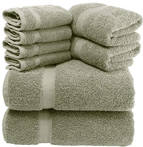 Luxury 8 Piece Bath Towel Set White - 700 GSM Combed Cotton Hotel Towels - 2 Bath, 2 Hand, 4 Washcloths (Green, 8)