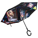 Double Layer Inverted Umbrella Mit C-förmigen Griff, Regenschirme Unisex Mit UV-Schutz...
