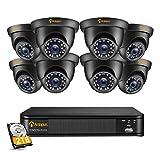 Anlapus 1080P Sistema de Videovigilancia 8CH 2MP HDMI Grabador DVR con 8 CCTV Cámaras de Seguridad Exterior, 2TB Disco Duro, Visión Nocturna, Acceso Remoto