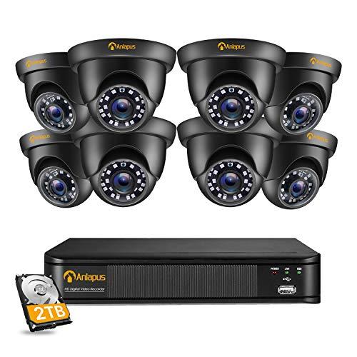 Anlapus 1080P Sistema di Videosorveglianza Esterno 8CH Videoregistratore DVR con 8 Videocamere di Sicurezza Impermeabile, 2TB Disco Rigido, Visione Notturna, Allarme di Movimento