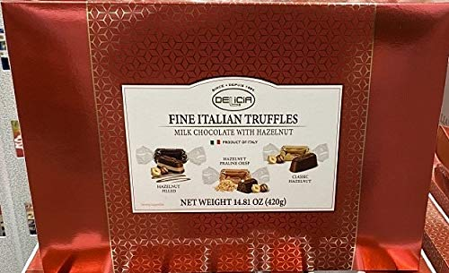 Delicia Fine Italian Truffles, Milk Chocolate with Hazelnut, 14.81 Ounce