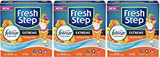 Fresh Step Extreme Hawaiian Aloha Clumping Cat Litter - Febreze Fresh Odor Solution Scoop Litter Boxes for Cats (3, 25lb)