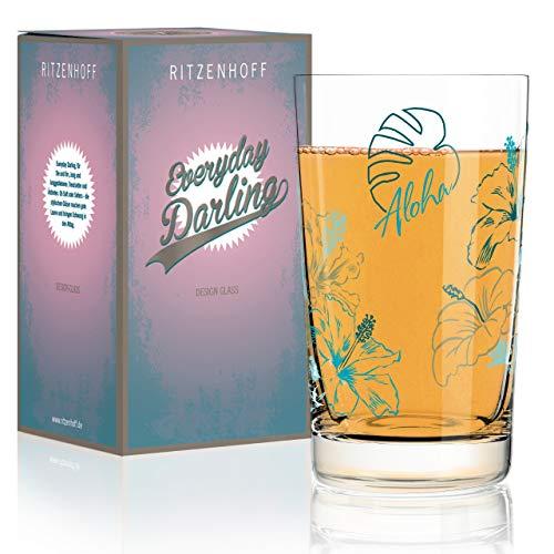 RITZENHOFF Everyday Darling Softdrinkglas von Iris Interthal, aus Kristallglas, 300 ml, mit trendigen Dekoren