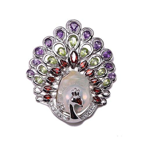 JYX Pearl Colgante fino estilo pavo real blanco perla barroca colgante con piedra preciosa para mujer
